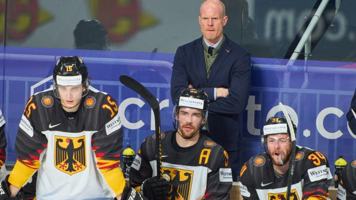 Stefan Loibl 15 of Germany DEB National coach, headcoach, team manager, Bundestrainer, Toni Söderholm, Soederholm of Ger; Eishockey