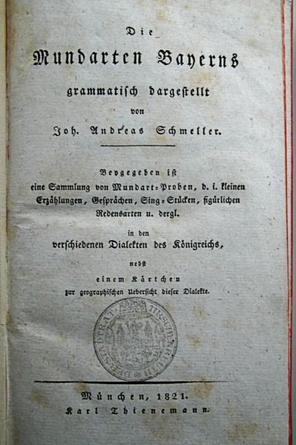 Mundart: Titelblatt des 1821 erschienenem Werks über die Mundarten Bayerns und ihrer Grammatik.