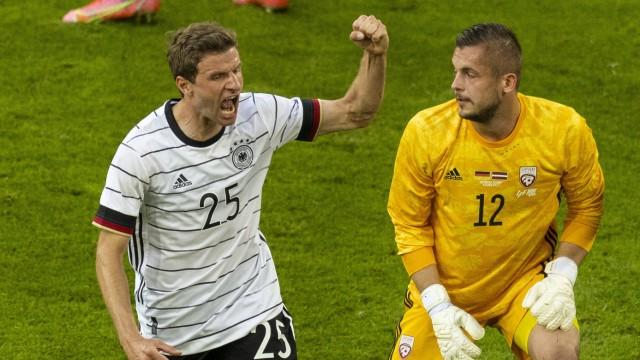 Torjubel: Thomas Mueller (Deutschland) Deutschland - Lettland Düsseldorf, 07.06.2021, Fussball, Saison 2020/21 Foto: Mor