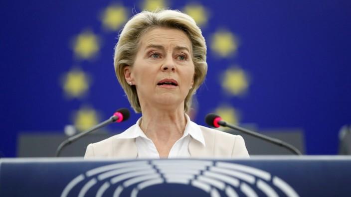 Ursula von der Leyen im Europäischen Parlament in Straßburg.