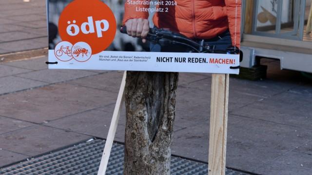 Sonja Haider auf Plakat der ÖDP zur Kommunalwahl in München, 2020