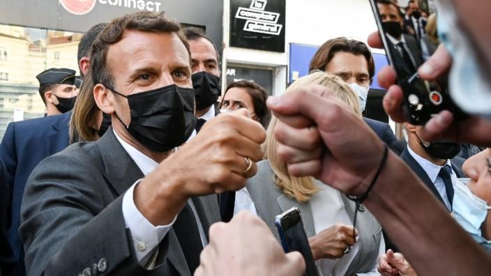 Emmanuel Macron in Valence, Region Drôme. Bei dieser Gelegenheit blieb es friedlich.