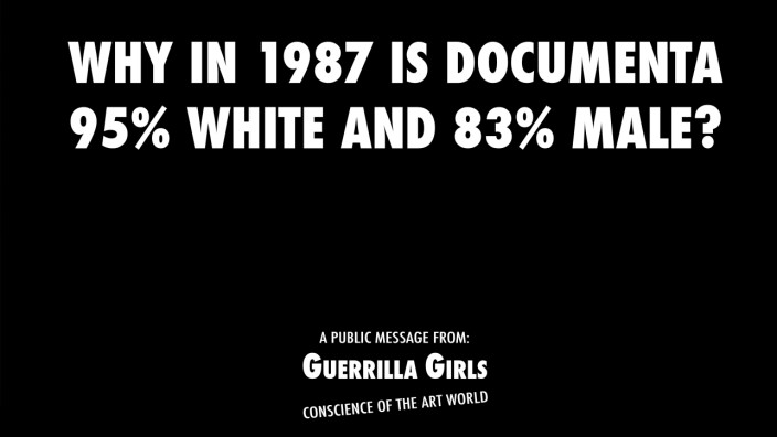 Guerrilla Girls, Why in 1987 is documenta 95 %  white and 83 % male?, 1987 documenta 8, 1987 © Courtesy of Guerrilla Girls, www.guerrillagirls. com