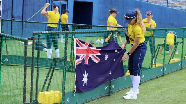 Members of Australia's Olympic softball squad hold training session in Ota, Japan