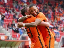 Wout Weghorst and Memphis Depay after 2-0 during friendly football match Netherlands vs Georgia on June 6,2021 at FC Twe
