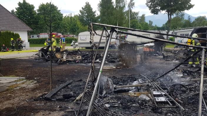 Brand auf Campingplatz  in Übersee am Rödlgries