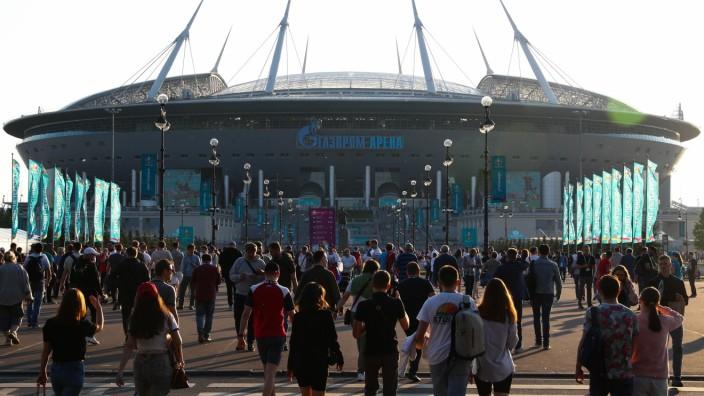 ST PETERSBURG, RUSSIA - JUNE 12, 2021: A view of Gazprom Arena ahead of the UEFA EURO, EM, Europameisterschaft,Fussball