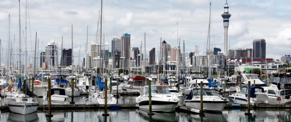 A view of the city skyline from Westhaven in Auckland