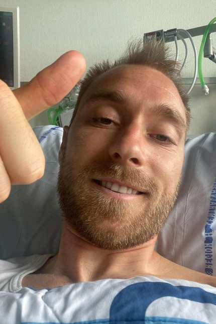 Danish footballer Eriksen gives a thumbs-up at Rigshospitalet in Copenhagen