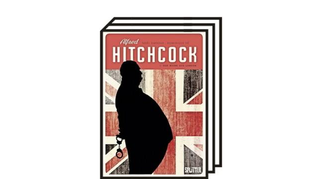 Comic über Alfred Hitchcock: Noël Simsolo (Szenario), Dominique Hé (Zeichnungen): Alfred Hitchcock. Band 1. Der Mann aus London. Aus dem Französischen von Tanja Krämling. Splitter Verlag, Bielefeld 2021. 160 Seiten, 24 Euro.