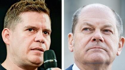 """Wahlkampagne der SPD: """"Kompetent, führungsstark"""" sei der Kandidat Scholz (rechts), findet dessen Kampagnenleiter Raphael Brinkert."""