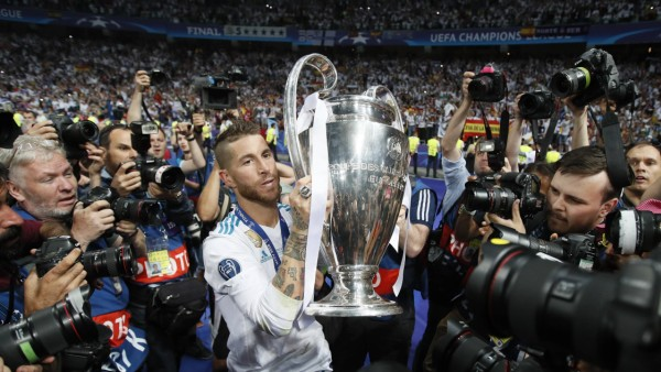 Sergio Ramos of Real Madrid holds the Champions League trophy during the UEFA Champions League Final; Sergio Ramos