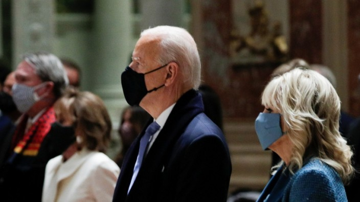 President-elect Joe Biden attends a church service before his presidential inauguration, at St. Matthews Catholic Church in Washington