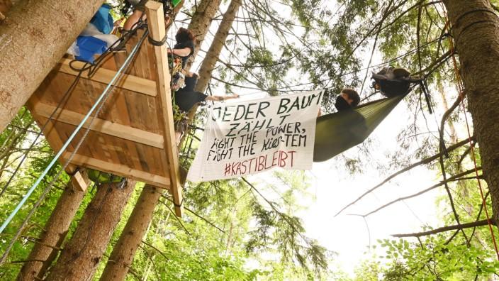 """""""Jeder Baum zählt"""": Im Juni diesenJahres ist der Forst Kasten von Aktivisten besetzt worden, die gegen den Kiesabbau protestiert haben."""