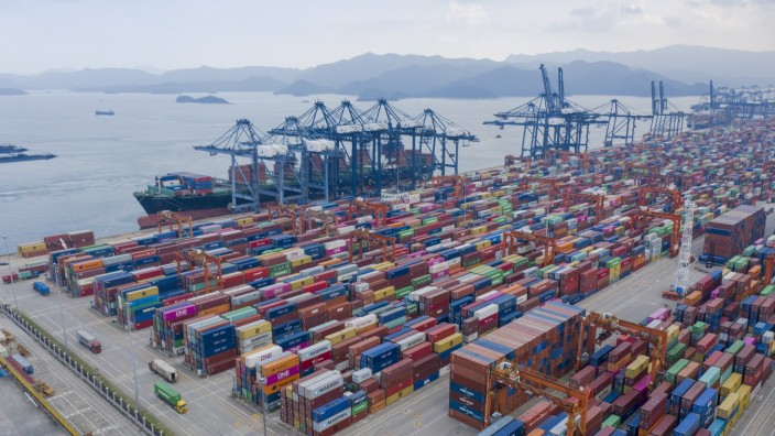 SHENZHEN, CHINA - AUGUST 22: Aerial view of containers sitting stacked at the Yantian International Container Terminals
