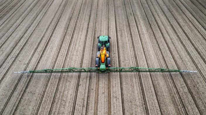Landwirt bearbeitet ein Feld, Pflanzenschutzmittel wird aufgesprüht, Acker mit jungen Zuckerrüben Pflanzen, NRW, Deutsch