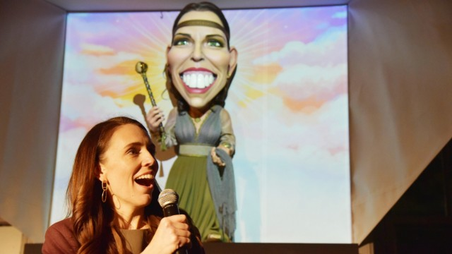 NEW ZEALAND POLTICAL PUPPETS, New Zealand Prime Minister Jacinda Ardern speaks at the unveiling of a puppet in her liken