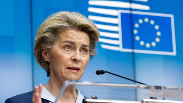 (210227) -- BRUSSELS, Feb. 27, 2021 -- European Commission President Ursula von der Leyen attends a press conference af