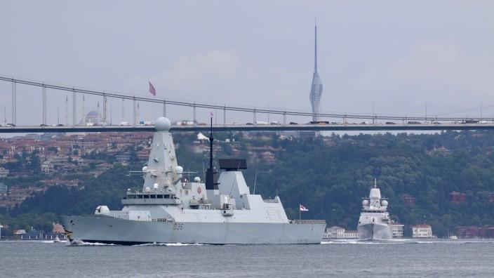 FILE PHOTO: Royal Navy HMS Defender sets sail in Istanbul's Bosphorus