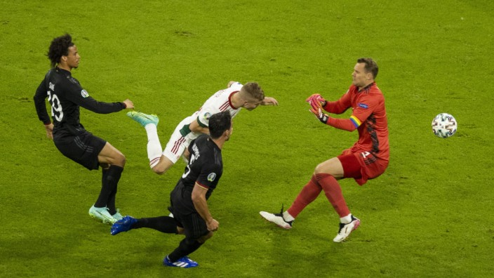 Tor zum 1:2 durch Andras Schäfer (Ungarn) gegen Leroy Sane (Deutschland), Mats Hummels (Deutschland), Torwart Manuel Ne