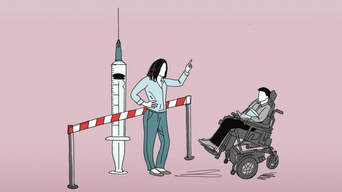 Impfgegner: Illustration: Stefan Dimitrov