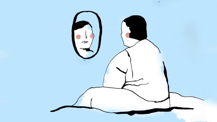 """Adipositas: """"Ich glaube, kaum ein adipöser Mensch hat ein strahlendes Selbstbewusstsein"""", sagt Stephanie Bosch. Sie wiegt seit ihrer Jugend mehr als das, was für ihre Körpergröße als normal gilt. Illustration: Jessy Asmus"""