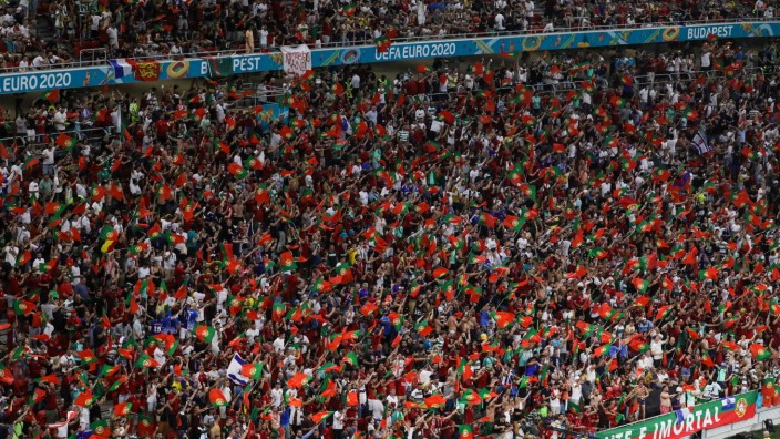 Budapest, Hungary, June 23th 202 Full stands with Portugal fans during the EURO 2020 European Championship, EM, Europame