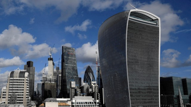 FILE PHOTO: The City of London financial district is seen with office skyscrapers commonly known as 'Cheesegrater', 'Gherkin' and 'Walkie Talkie' seen in London, Britain