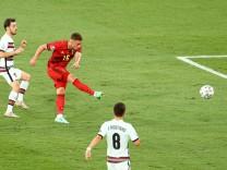 Mandatory Credit: Photo by Kieran McManus/BPI/Shutterstock (12169919bq) Thorgan Hazard of Belgium scores the 1st goal B
