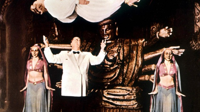 Levitation Kalanag Helmut Schreiber 1903 1963 German international illusionist levitates his wi