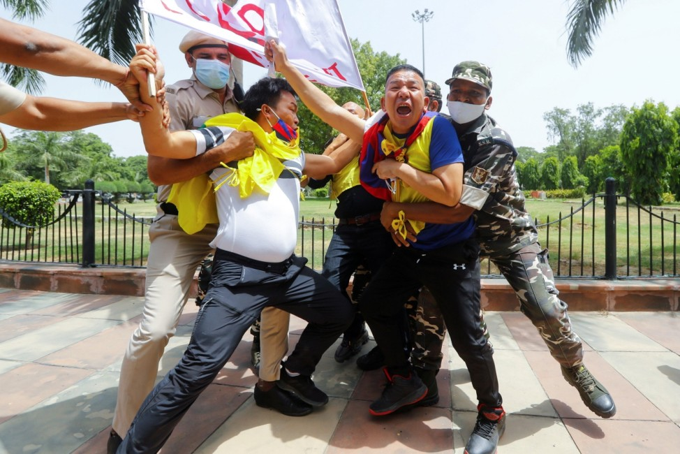 Protest against Chinese Communist Party's 100-year anniversary celebrations, outside Chinese Embassy in New Delhi