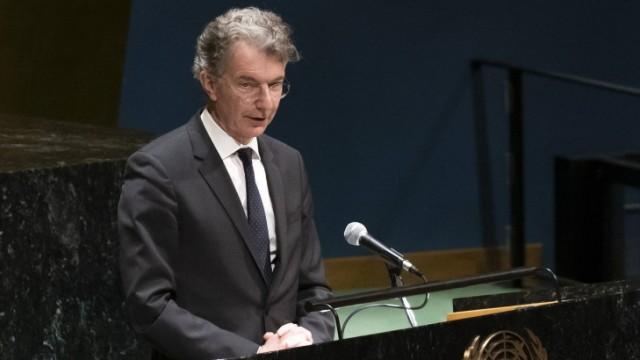 Holocaust Memorial Ceremony at UN Germany Ambassador Permanent Representative Christoph Heusgen speaks during Holocaust