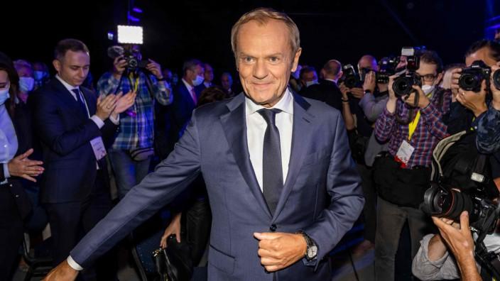 """Donald Tusk: Donald Tusk beim Kongress seiner """"Bürgerplattform"""" in Warschau."""