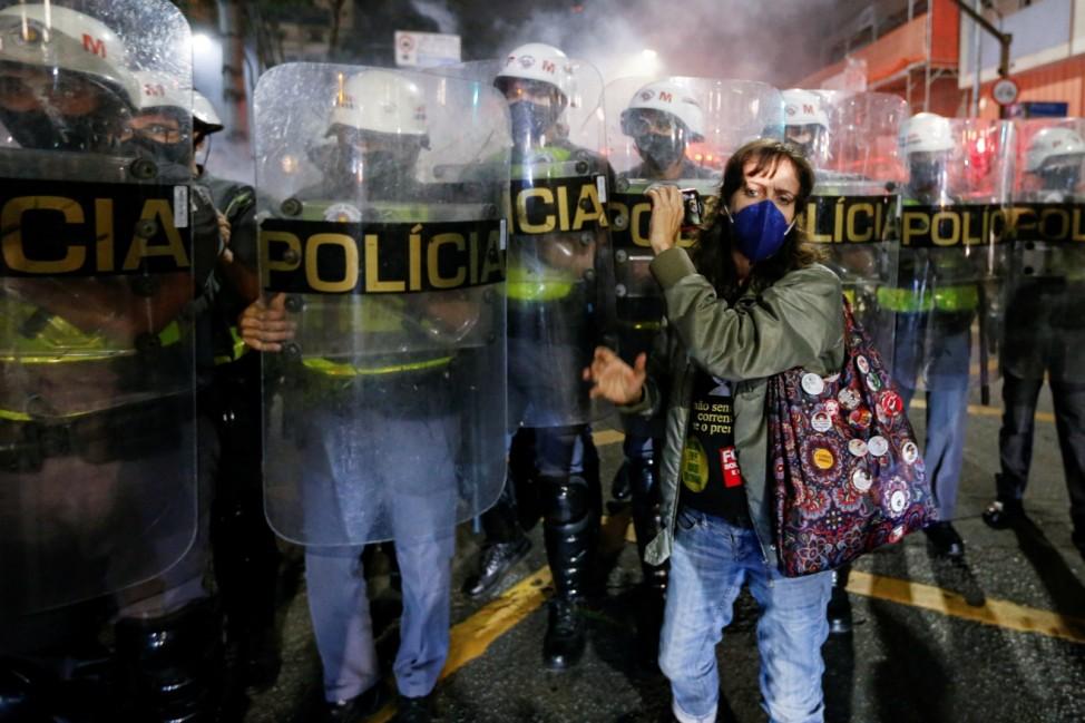 Protest against Brazil's President Jair Bolsonaro, in Sao Paulo
