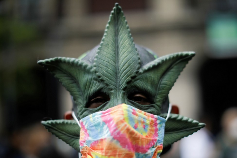 Demonstrators march in favor of the decriminalization of cannabis in Mexico City