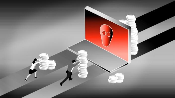 Erpressung: Die sicherste Art für Erpressen, an Geld zu gelangen: Sie lassen sich in Kryptowährungen im Digitalen bezahlen. Illustration: Stefan Dimitrov