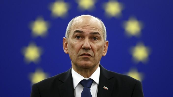 Sloweniens Ministerpräsident Janez Janša in Straßburg