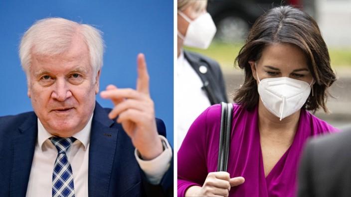 Bundestagswahl: Bundesinnenminister Horst Seehofer (CSU) und Grünen-Kanzlerkandidatin Annalena Baerbock.