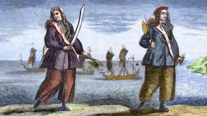 Anne Bonny and Mary Read the female pirates engraved by Cole Portraits de Ann Bonny 1697 1720