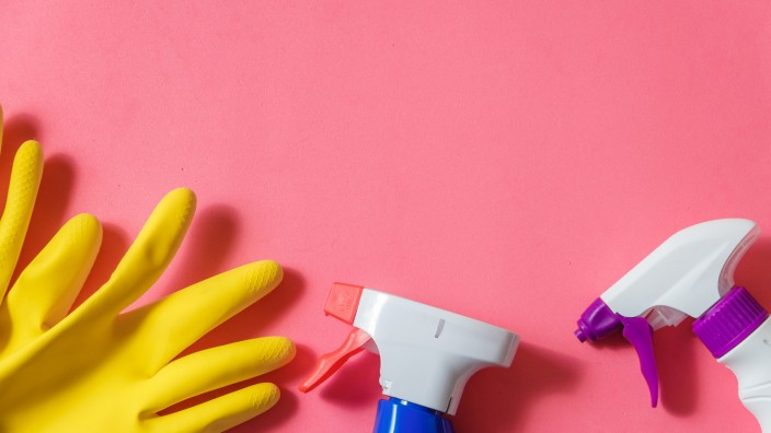 Cleaning Products. Home Cleaning Concept. Pink Background. Place for Typography and Logo. Copy space. Flat Lay. Top View (maximbeykov)