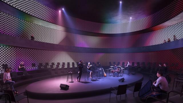 Konzerthaus im Werksviertel: Im kleinen Konzertsaal, der im Gebäude-Querschnitt unter dem großen liegen wird, wird in ovaler Form konzipiert.