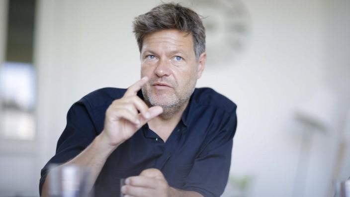 Robert Habeck, Parteivorsitzender von Buendnis 90/Die Gruenen, gestikuliert waehrend eines Interviews. Berlin, 14.06.20