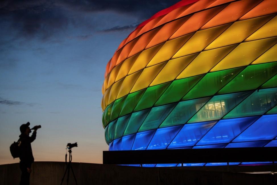Allianz Arena illuminated in rainbow colors