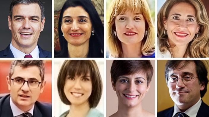 Spanien: Die neuen, von Pedro Sanchez (links oben) ernannten Minister*innen: Oben von links: Pilar Llop, Pilar Alegria und Raquel Sanchez; unten von links: Felix Bolanos, Diana Morant, Isabel Rodriguez und Jose Manuel Albares