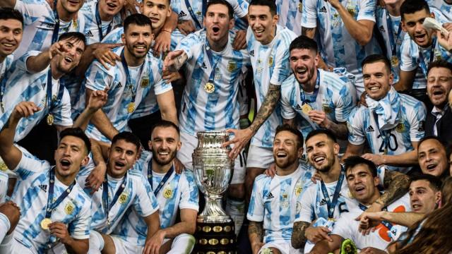 Argentina x Brasil RIO DE JANEIRO, RJ - 10.07.2021: ARGENTINA X BRASIL - Messi celebrates title. Argentina Champion, af