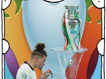 London, England, 11th July 2021. Kalvin Phillips of England removes his loosers medal during the UEFA EURO, EM, Europam