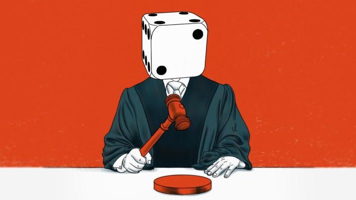Richter mit W¸rfel als Kopf *** Judge with cube as head PUBLICATIONxINxGERxSUIxAUTxONLY Copyright: xThomasxKuhlenbeckx 1