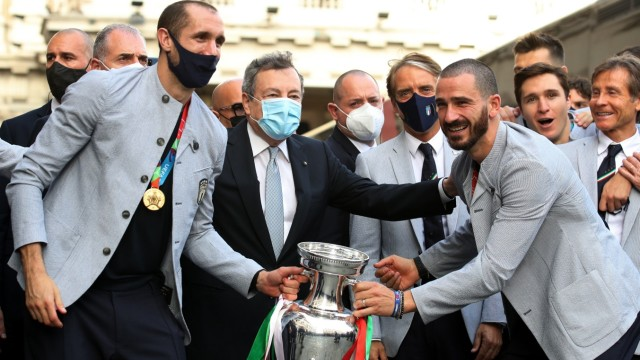 Euro 2020 - Italy's President Sergio Mattarella meets with the Italy team after they won Euro 2020