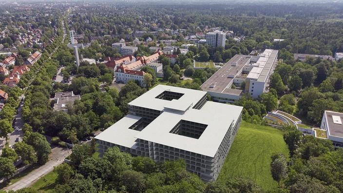 Städtische Kliniken: So wird sich die neue Klinik ins Viertel einfügen. Simulation: Hild und K, HDR