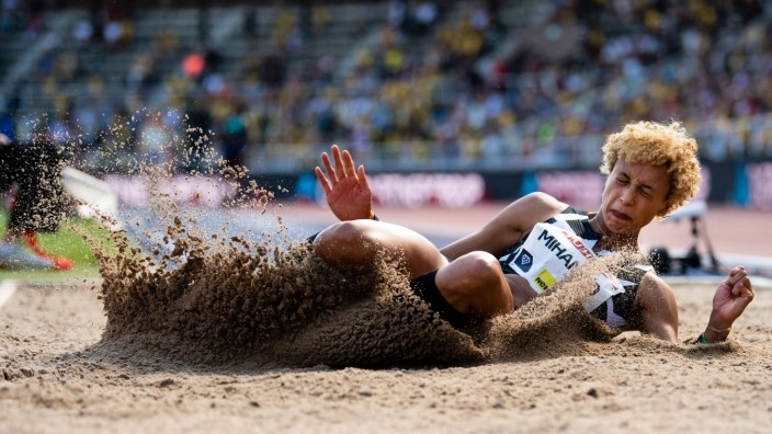 210704 Malaika Mihambo of Germany competes in women s long jump during the athletics gala Bauhaus-galan, Diamond League; Malaika Mihambo